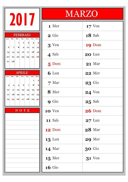 Calendario mensile - Marzo 2017