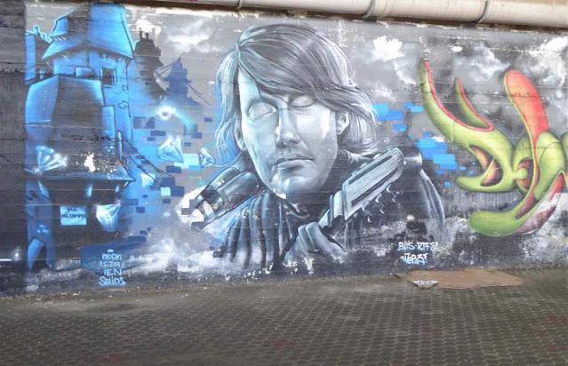 murale che ritrae Fabrizio De André Arenzano