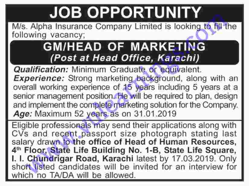 Job  in Alpha insurance Company