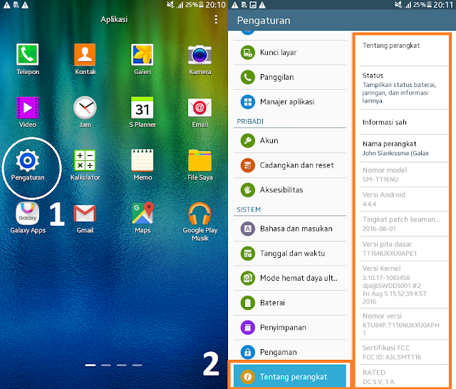 cara cek tipe hp samsung android