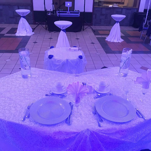 sweetheart table, white tablecloth, wedding dj, wedding planner