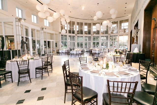 black and white wedding reception at orlando museum or art