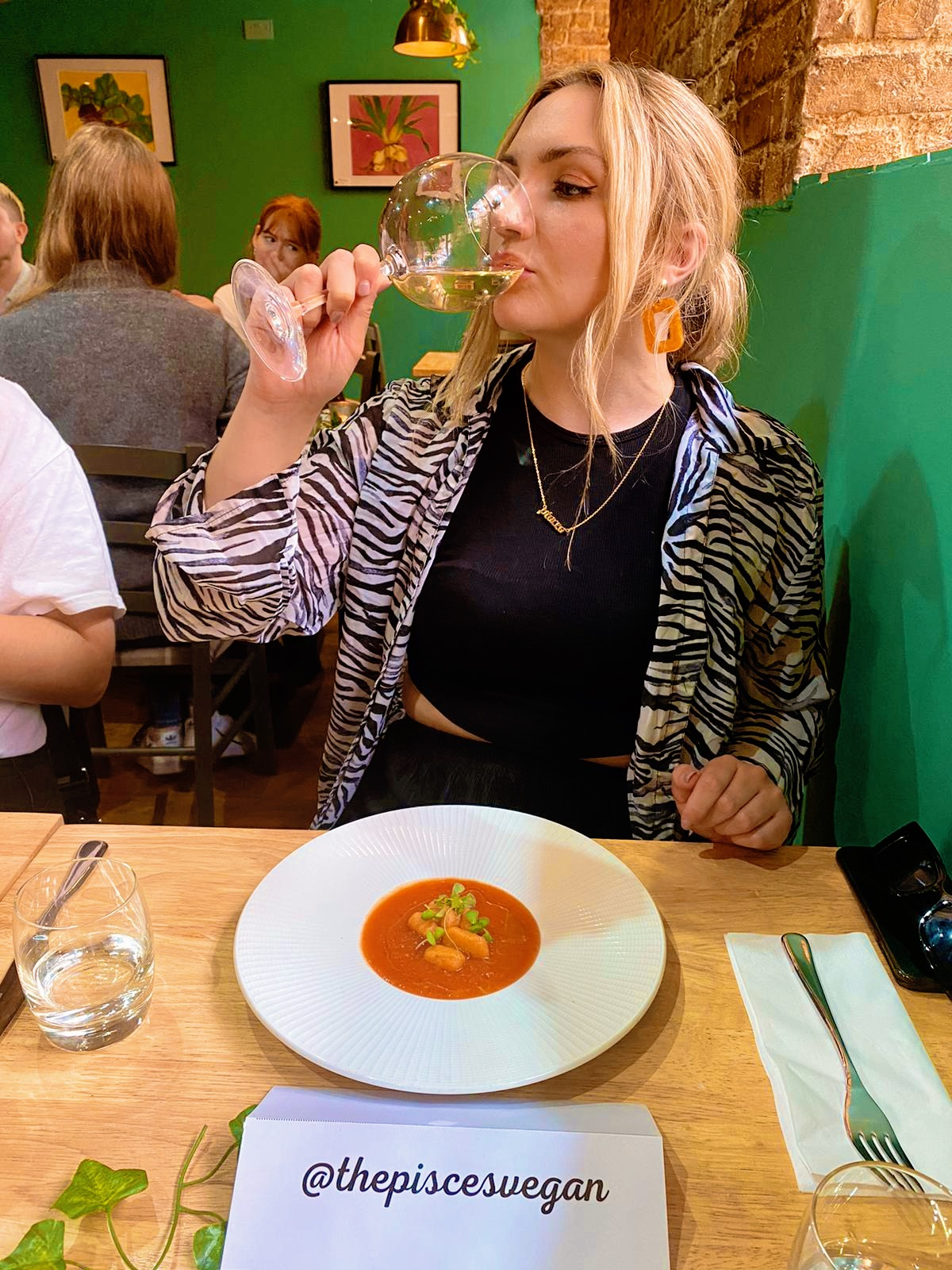 The Pisces Vegan eating soup and drinking wine in a restaurant