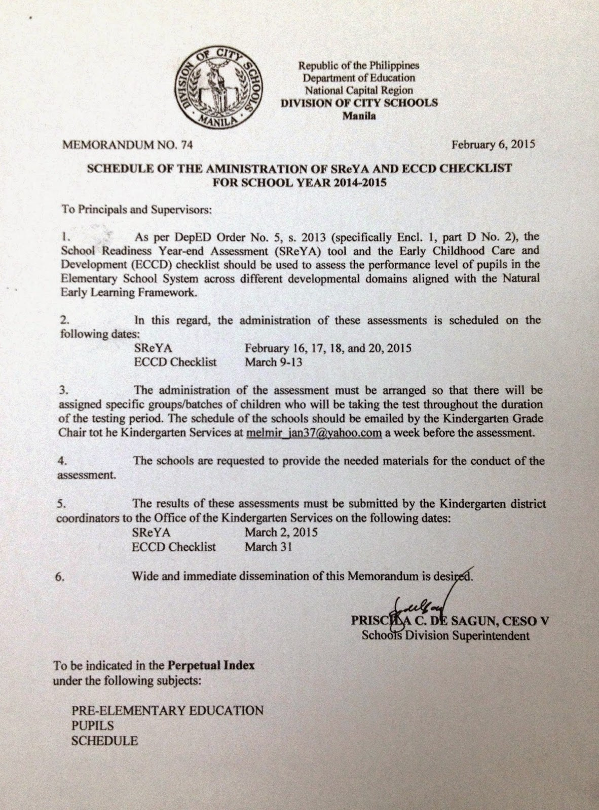 Department Of Education Manila Division Memorandum No 74