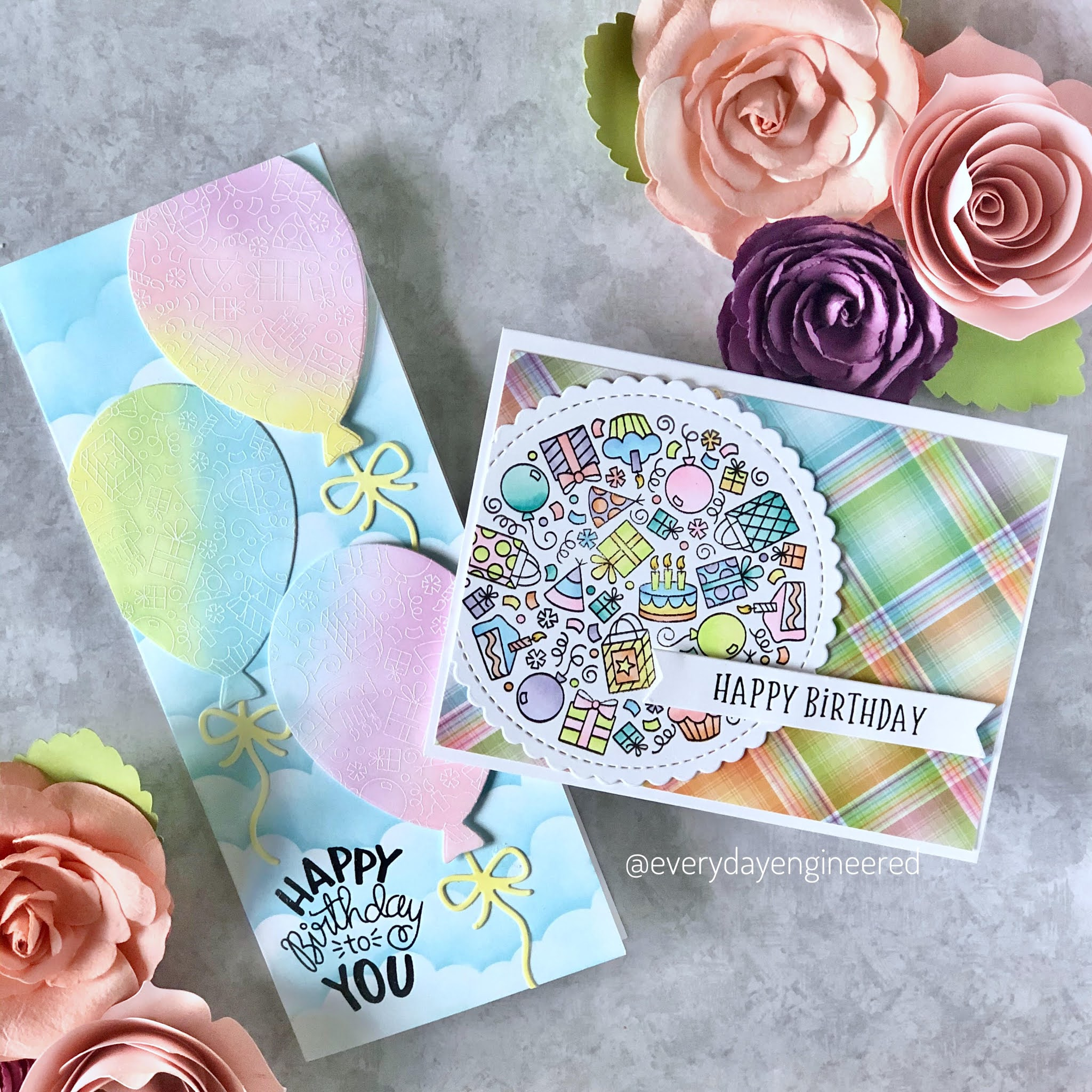 Pretty in Pastel Birthday Cards by October Guest Designer Farhana S | Birthday Roundabout Stamp Set and Balloon Shaker Die Set by Newton's Nook Designs #newtonsnook