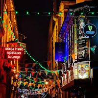 Pictures of Dublin at nigh: Dame Lane and the Stag's Head