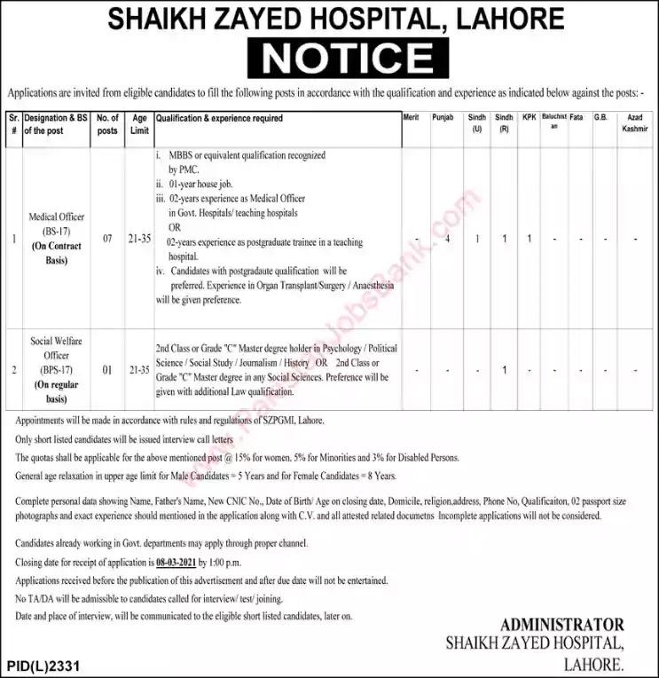Latest Jobs in Pakistan in Shaikh Zayed Hospital Lahore Jobs 2021