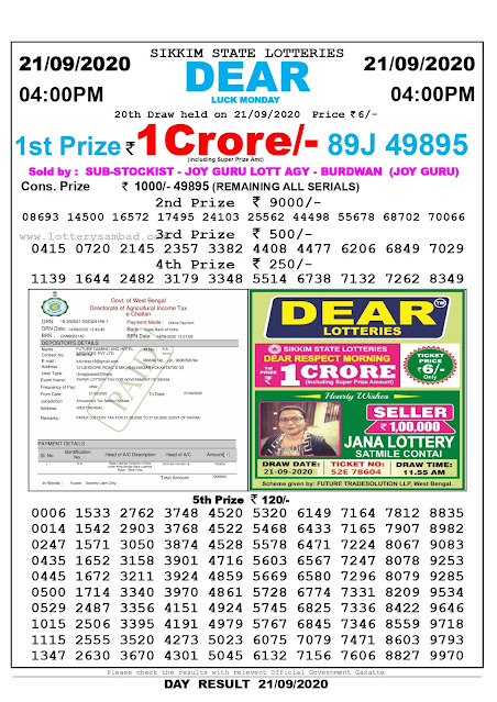 Sikkim State Lottery Sambad 21-09-2020 Today Result 4 PM
