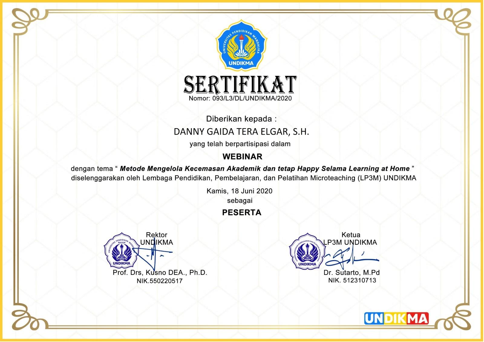 Sertifikat Universitas Pendidikan Mandalika (UNDIKMA) Mataram | Kamis, 18 Juni 2020