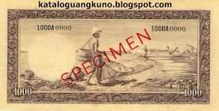 Specimen Seri Hewan tahun 1957 pecahan 1000 belakang