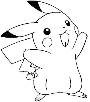 Dibujo de Pikachu sin color para pintar para niños