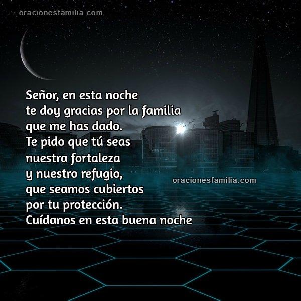 Oración para dormir de buenas noches. Frases en imagen con oración corta.