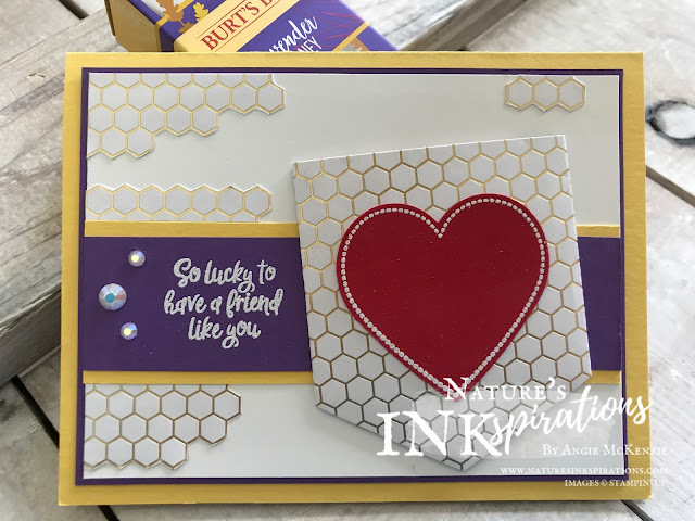 By Angie McKenzie for 3rd Thursdays Blog Hop; Click READ or VISIT to go to my blog for details! Featuring the 2020 SAB Golden Honey Specialty Designer Series Paper and the Heartfelt Bundle from the Stampin' Up! 2020 January - June Mini Catalog; #stampinup #sweettreats  #naturesinkspirations #pocketdies #heartfeltbundle #fromtheheartfacetedgems #heatembossing #goldenhoneyspecialtydsp #fussycutting #burtsbees #cardtechniques #giftideas