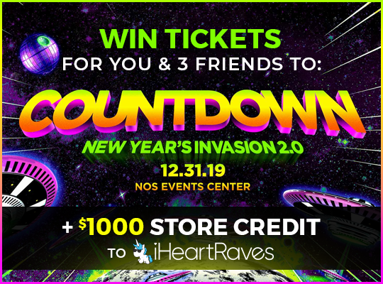 Enter to win four passes to attend the Countdown New Years Invasion at the NOS Events Center for New Years Eve and a $1000 store credit to iHeartRaves!