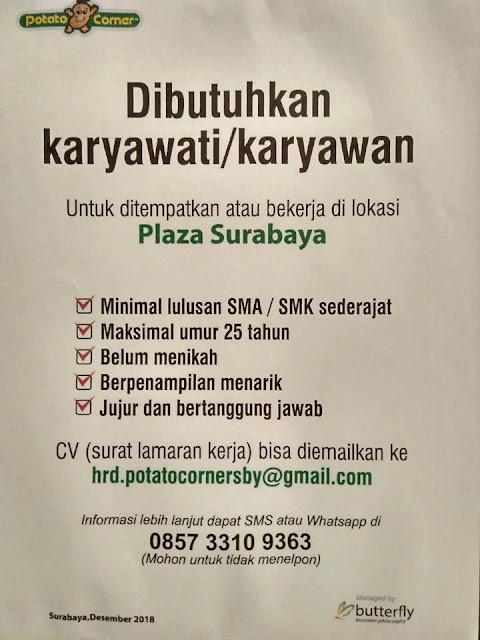 lowongan kerja potato mcorner plaza Surabaya