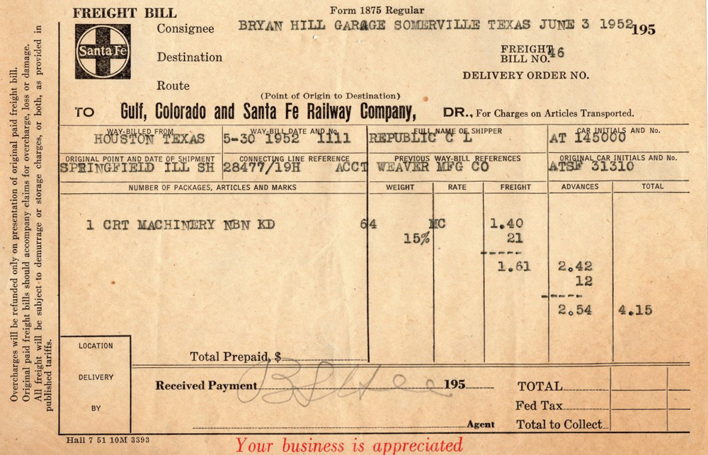 modeling the SP Waybills, Part 26 prototype documents - truck bill of lading form