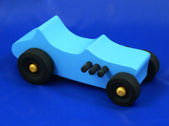 Right Front - Wooden Toy Car - Hot Rod Freaky Ford - 27 T Bucket - MDF - Blue - Black - Gold