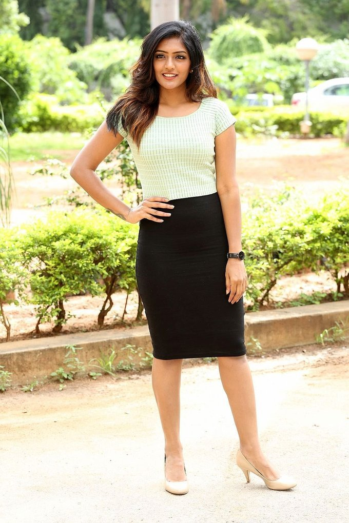 Eesha Rebba In White Top At Darshakudu Telugu Movie Press Meet