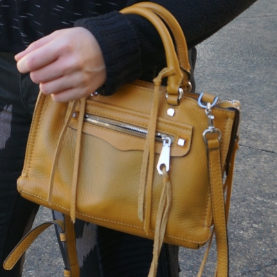 Rebecca Minkoff micro Regan satchel in Harvest Gold on wrist | awayfromtheblue