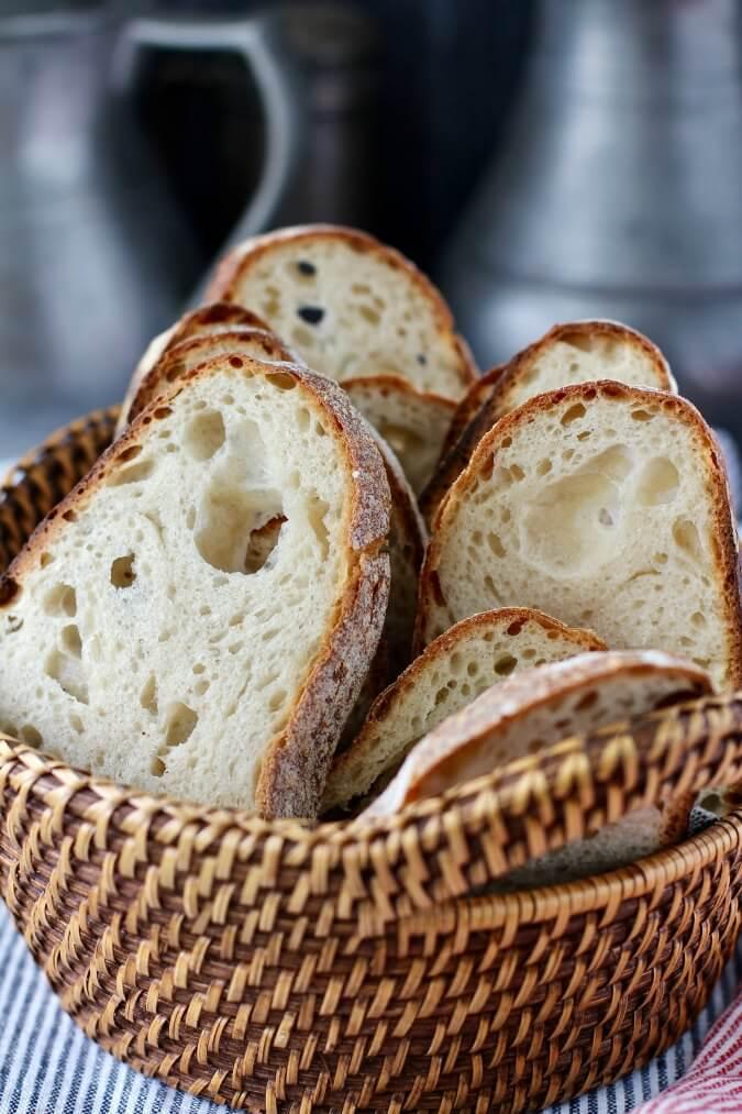 Light Rye Sourdough Bread slices