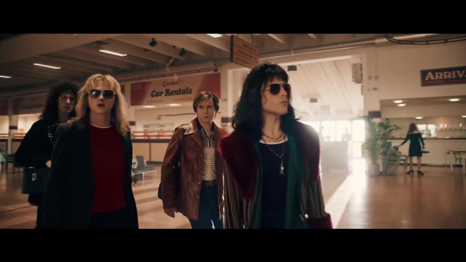 869d383574b Rami Malek as Freddie Mercury and Queen Band Members in Bohemian Rhapsody  wearing Sunglasses