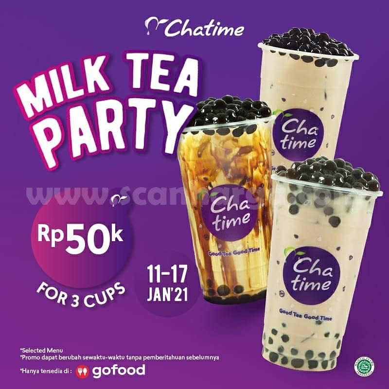 Chatime Promo Milk Tea Party Rp 50.000 untuk 3 Cup! Khusus pemesanan via GOFOOD