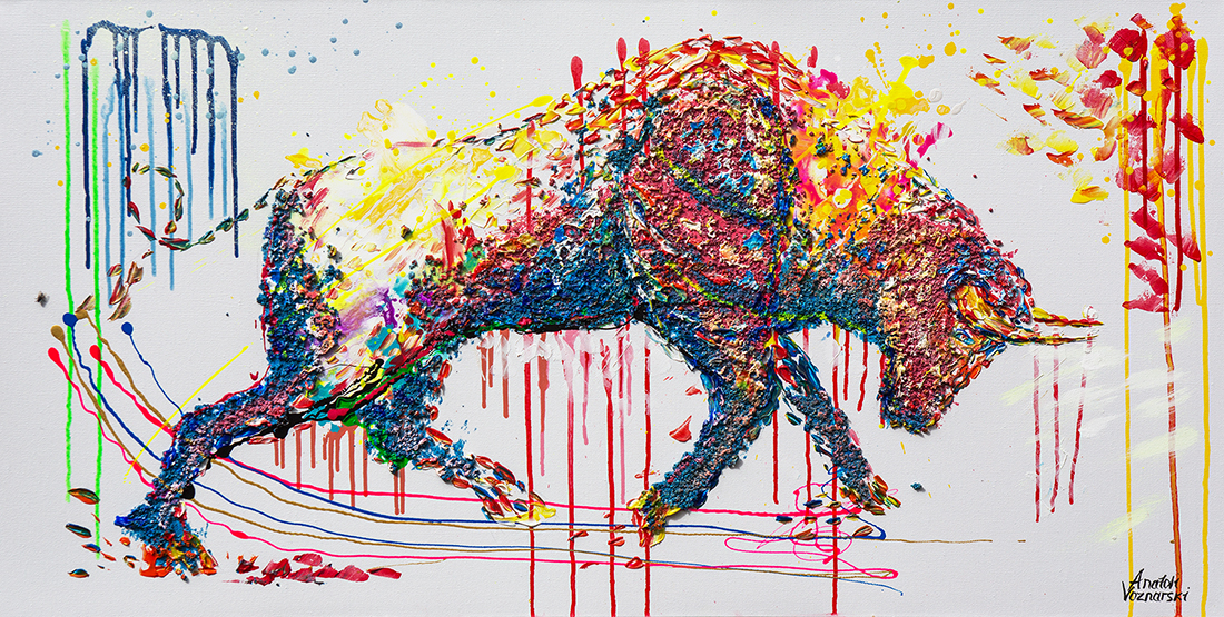 bull painting, bull 3d mixed, bull acrylic, bull dot painting, bull unique texture, thick layers bull, abstract bull, bull voznarski, mixed bull, bull on canvas, bull pop art, bull wall art, beautiful bull , red bull