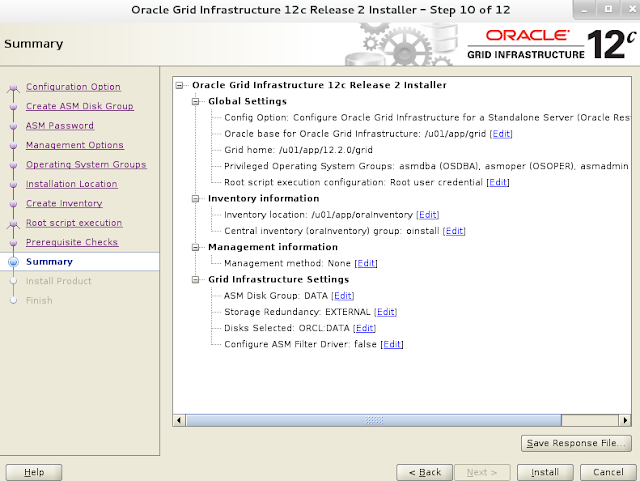 Oracle 12c grid infrastructure installation wizard screen 11