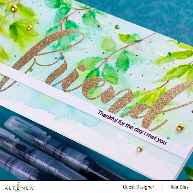 Loose Water colored Leaf Clusters Stamp Set Slimline Card Altenew 6th Anniversary Blog Hop Day 3 + Giveaway