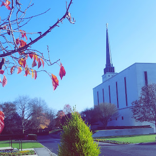 The London England Temple in Autumn