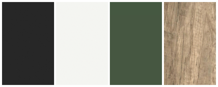 black, white, green and wood color palate