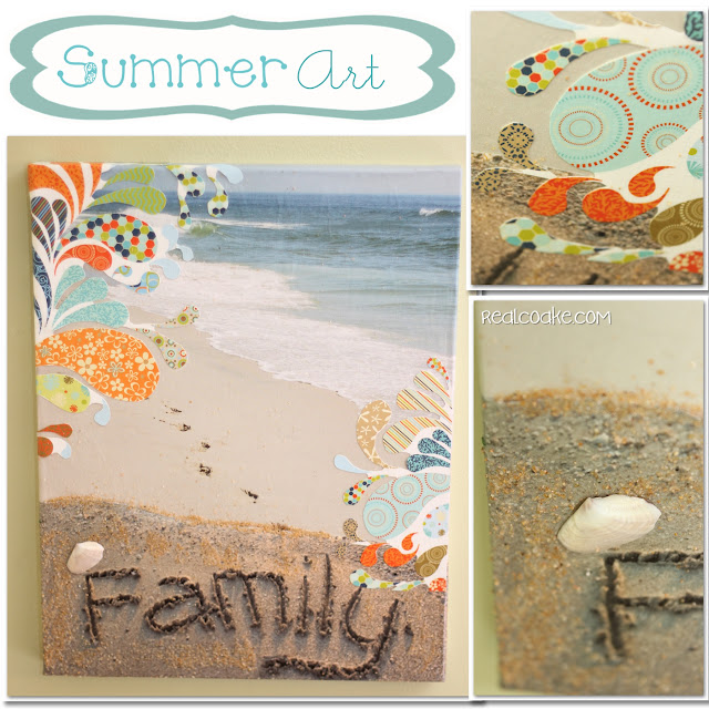 Tutorial to make Summer Art a DIY Wall Art with Canvas. #DIY #WallArt #HomeDecor #RealCoake