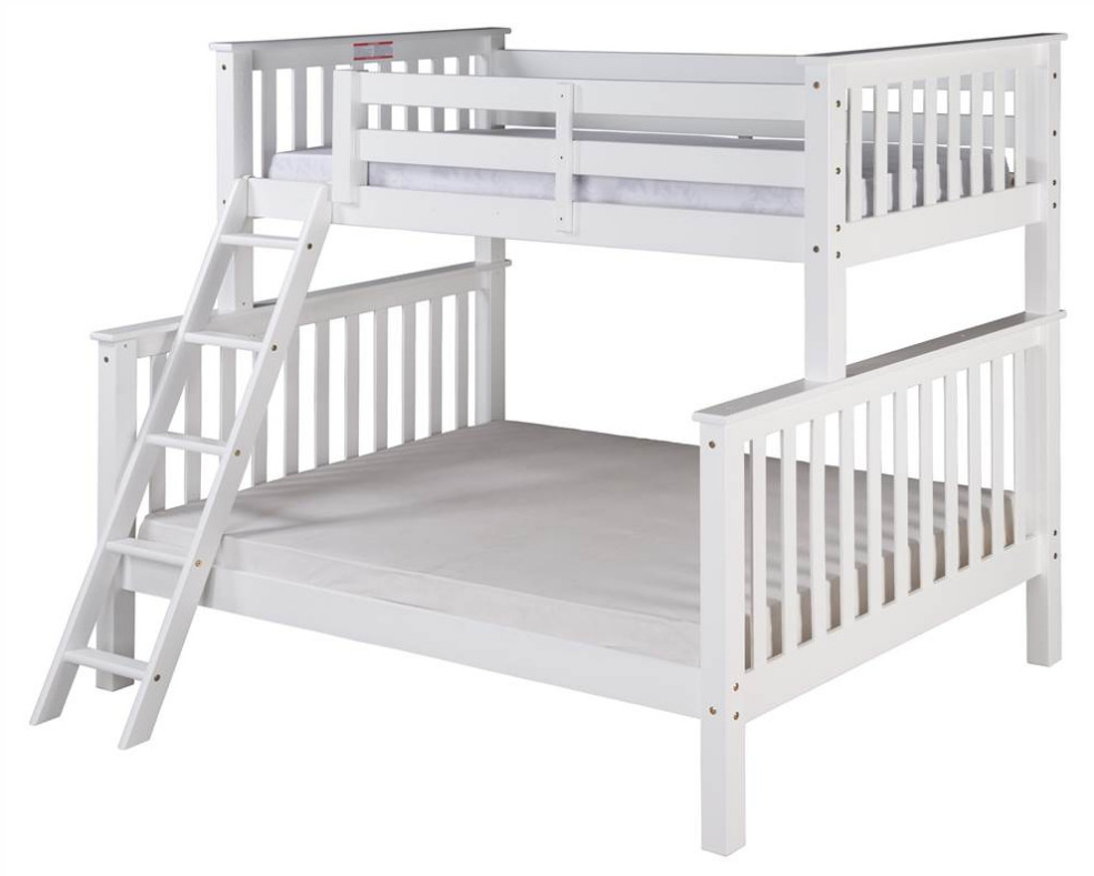 Twin Over Full Tall Bunk Bed with Angle Ladder in White Finish Camaflexi