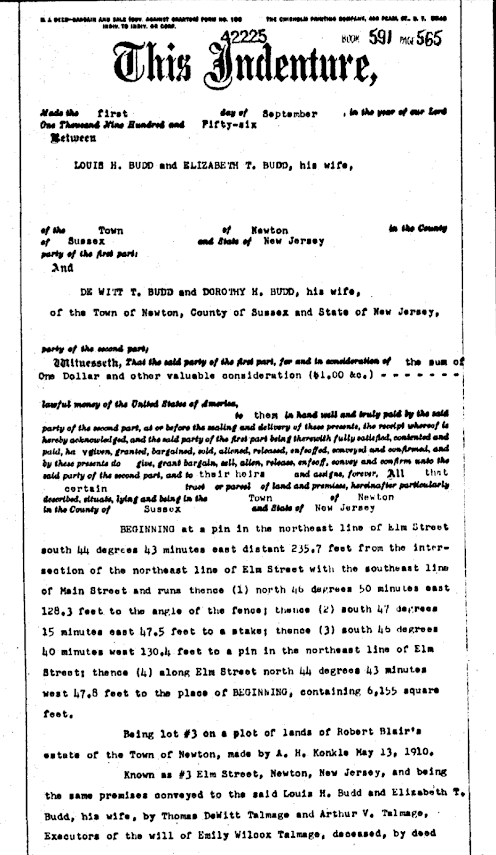 deed for 1956 transfer of Authenticated Sears No 163 of Reuben Talmage