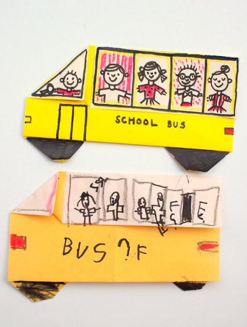 How to Fold an Origami School Bus with kids- Super easy instructions included