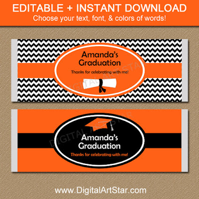 Orange & Black Chevron Graduation Candy Bar Wrappers Party Printable