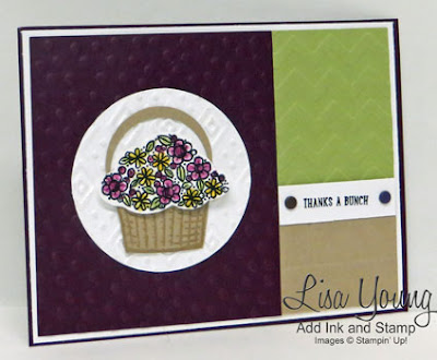 Stampin' Up! Sprinkles of Life stamp set.Color blocked layout. Basket of flowers thank you card. Handmade card by Lisa Young, Add Ink and Stamp