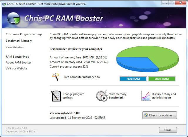Screenshot Chris-PC RAM Booster 5.00 Full Version