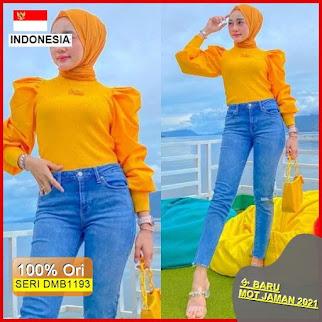 Dmb1193 Fashion Atasan Puff Basic Blouse Top Shirt Lengan Balon Hits Ootd Wanita