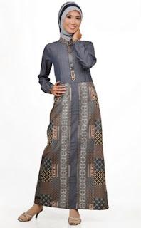 Model gamis batik kombinasi untuk ke kerja
