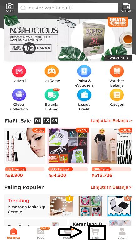 Menu Troli/ Keranjang Belanja di Aplikasi Marketplace Lazada.