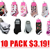 10 Pairs of Steve Madden or Betsey Johnson Women's Low Cut Socks $3.19 + Free Shipping