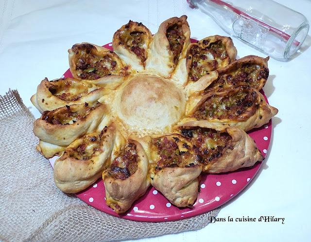 Calzone tournesol au chorizo, poivron et olives - Dans la cuisine d'Hilary