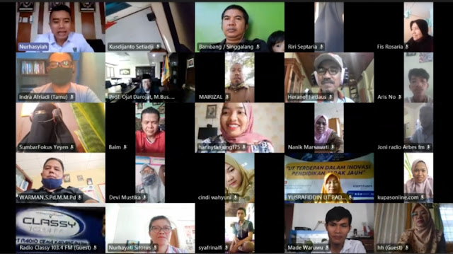 Foto: Webinar. Universitas Terbuka Perkenalkan Kualitas PJJ Pada Pers di Sumatera Barat.