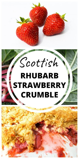 Scottish Strawberry & Rhubarb Crumble - A traditional Scottish fruit crumble, also known as a fruit crisp. The most comforting family pudding. #rhubarbcrumble #rhubarbcrisp #strawberrycrumble #strawberrycrisp #Scottishpudiding #pudding #rhubarbrecipes #strawberryrecipes #Scottishrecipes
