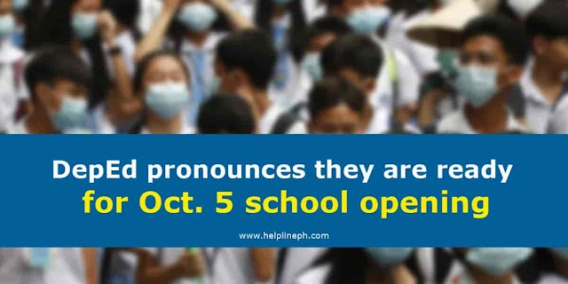 DepEd pronounces they are ready for Oct. 5 school opening