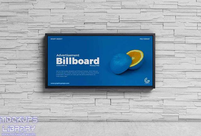 wall advertisement billboard mockup