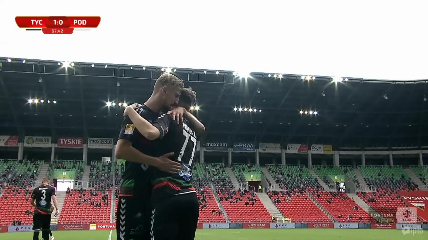 27. kolejka: GKS Tychy - Podbeskidzie Bielsko-Biała 1:1<br><br>fot. Polsat Sport / IPLA