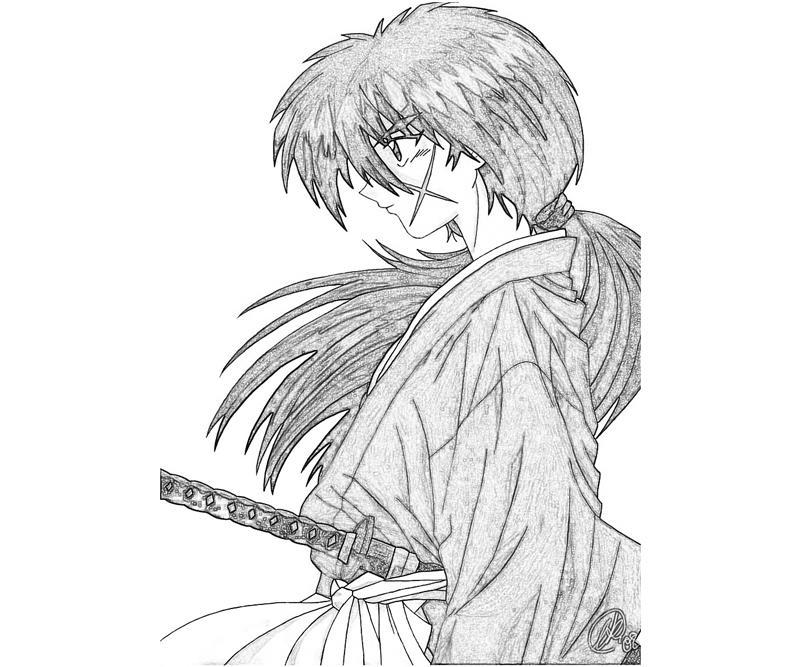 kenshin coloring pages | Rurouni Kenshin Himura Kenshin Profil | Mario