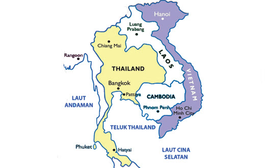 Peta Thailand dan Vietnam